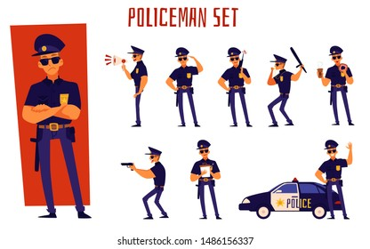 Cartoon policeman set - man in police uniform standing in different poses. Cop giving salute, writing a ticket, waving next to car, pointing a gun - isolated flat vector illustration