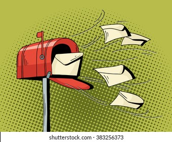 Cartoon pop art mailbox send letters. Comic hand drawn illustration - mail delivery with flying letters. Vector isolated on green halftone background.
