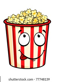 Cartoon popcorn isolated on white for fastfood design. Jpeg version also available in gallery