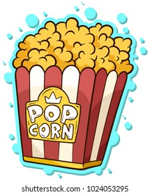 Cartoon popcorn in paper bucket box isolated on white background. Vector sticker. Cinema icon.