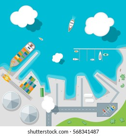 Cartoon Port Town and Barge Ship Loading Color Freight Containers on a Landscape Flat Design Style Top View . Vector illustration