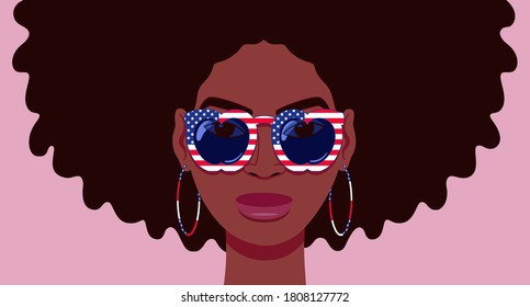 Cartoon portrait of beautiful young black woman with sunglasses that have apple shaped lenses and stars and stripes of the USA flag