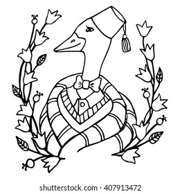 cartoon portrait character of an intelligent goose clothing in the fez and tie vector illustration