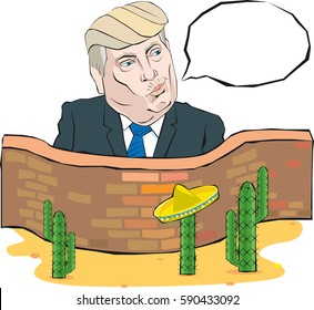 Cartoon Portrait of Donald Trump says something in front of a wall with Mexico