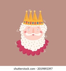 Cartoon portrait of the king on brown isolated background. Vector illustration in the style of children`s drawing. The funny character can be used for the design of books, postcards, textiles.