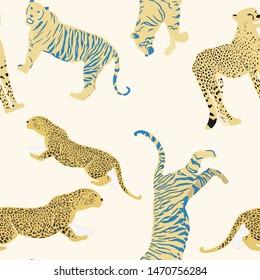 Cartoon portrait of wildcat pattern for print design. Seamless tiger pattern. Leopard wild texture. African wildlife. Cartoon vector illustration. Big cats vector illustration