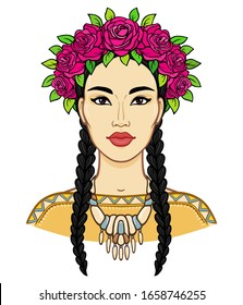 Cartoon portrait of a young beautiful girl in ancient necklace and a crown of roses. Color drawing. Vector illustration isolated on a white background. Print, poster, T-shirt, postcard.