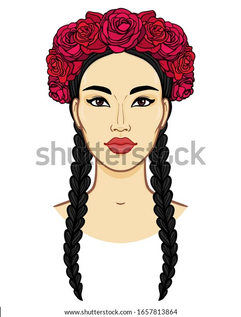 Cartoon Portrait Young Beautiful Girl Crown Stock Vector Royalty
