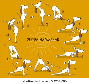 Cartoon positive dog doing yoga position of Surya Namaskara. San Salutation. Happy animal. Vector illustration