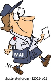 cartoon postal worker woman delivering mail