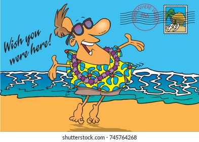 """cartoon postcard of a man on a tropical beach with the message """"wish you were here"""""""