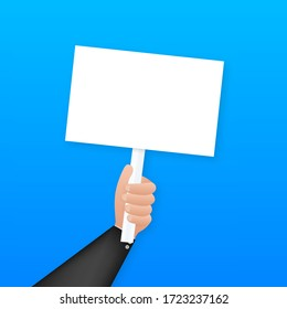 Cartoon poster with hand holding placard for banner design. Banner, Billboard design. Vector stock illustration.