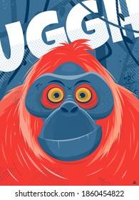 cartoon poster illustration of an orangutan ape