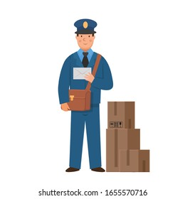 Cartoon postman with letter and boxes, character for children. Flat vector illustration