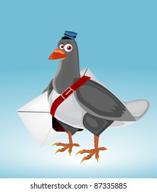 Cartoon postman pigeon with letter