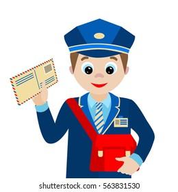 Cartoon postman.Vector illustration isolated on white background