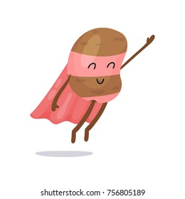 Cartoon potato superhero flat character with pink cape, mask and pants flying with hand up