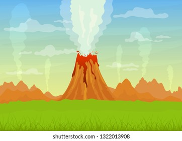 Cartoon prehistoric landscape with active volcano and erupting lava. Clouds in the sky, mountains and green field, illustration.