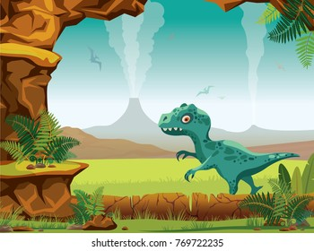 Cartoon prehistoric landscape with stone cave, green fern, tyrannosaur, active volcanoes and silhouette of pterodactyls on a blue sky. Vector nature illustration with extinct animals - dinosaurs.