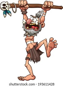 Cartoon prehistoric witch doctor. Vector clip art illustration with simple gradients. All in a single layer.