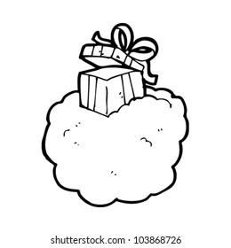 cartoon present on cloud