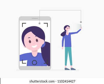 Cartoon pretty girl taking selfie on smartphone or having video call, life translation. Girl's face on screen. Social media, communication people, photo, gadget addicted concept. Vector illustration.