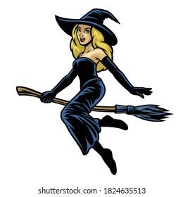 cartoon pretty women cosplay witcher riding flying broom