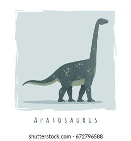 Cartoon print of apatosaurus