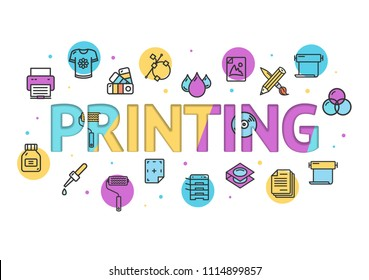 Cartoon Printing Signs Concept Card Poster Paper Art Design with Outline Icons Include of Pipette and Drop. Vector illustration