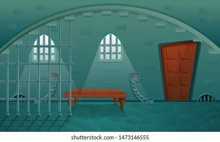cartoon prison in the stone basement of the castle, vector illustration