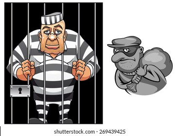 Cartoon prisoner in jail behind the bars in striped uniform and robber in mask with sack  for crime and punishment concept design