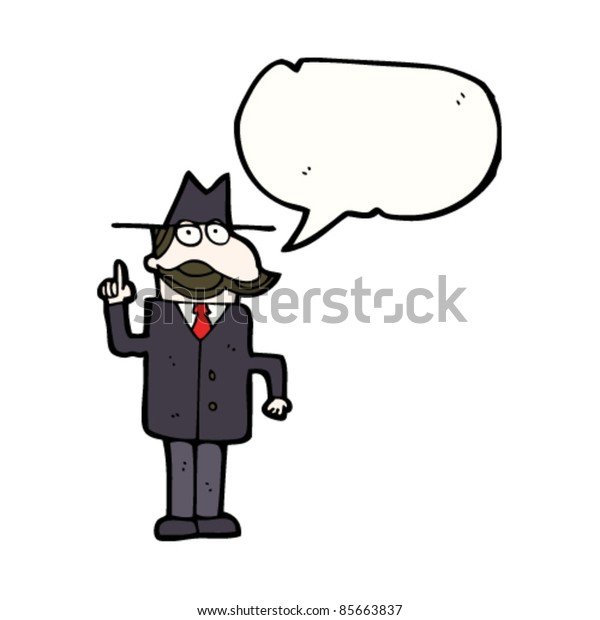 cartoon private detective with mustache and speech bubble