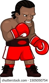 Cartoon professional angry boxer in red gloves