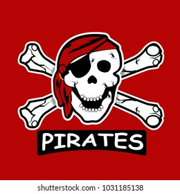 cartoon professional pirates logo for sport team. Pirate icon for sport teams. Pirates, vector logo, symbol on a red background