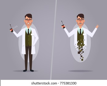 Cartoon Professor Experimenting with Teleportation. Vector Illustration