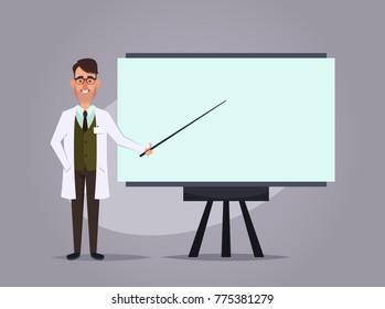 Cartoon Professor Giving a Presentation. Vector Illustration