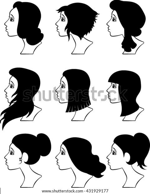 Cartoon Profiles Women Silhouettes Vector Illustration Stock Vector Royalty Free 431929177
