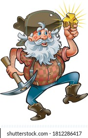 cartoon prospector with gold nugget and pickaxe