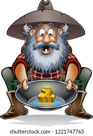cartoon prospector with gold in a pan