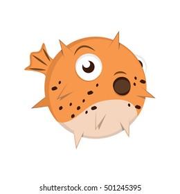 Cartoon puffer fish illustration