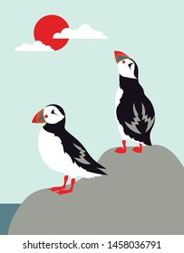 cartoon puffin color illustration, stock birds vector, poster with north birds is good for any desing