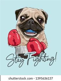 cartoon pug boxing athletic illustration