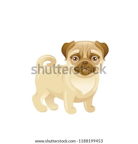 be3c7c31ea26 Cartoon pug dog icon. Cute pet puppy vector illustration isolated on white  background. Flat