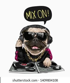 cartoon pug dog in sunglasses and headphone illustration