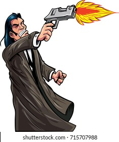 Cartoon Pulp Fiction Character Firing His Gun