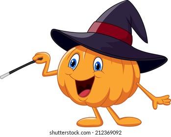 Cartoon pumpkin holding magic wand