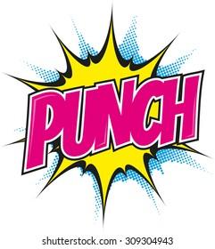 cartoon punch in pop art style