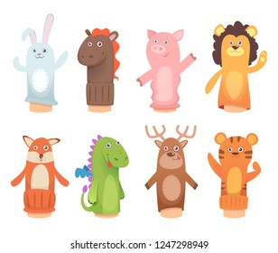 Cartoon puppets. Dolls from socks on hands and fingers puppet toys for kids vector funny characters