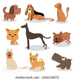 Cartoon puppy and dog. Happy puppies with smiling muzzle, loyal dogs and friendly dog. Husky, corgi and pug doggy pedigree expression character isolated vector icons set