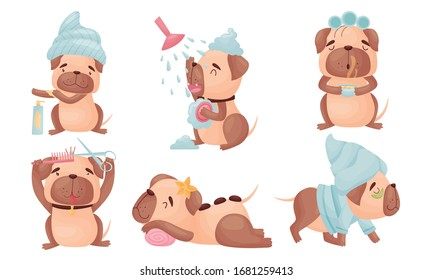 Cartoon Puppy Grooming Himself Cutting His Fur and Having Shower Vector Set